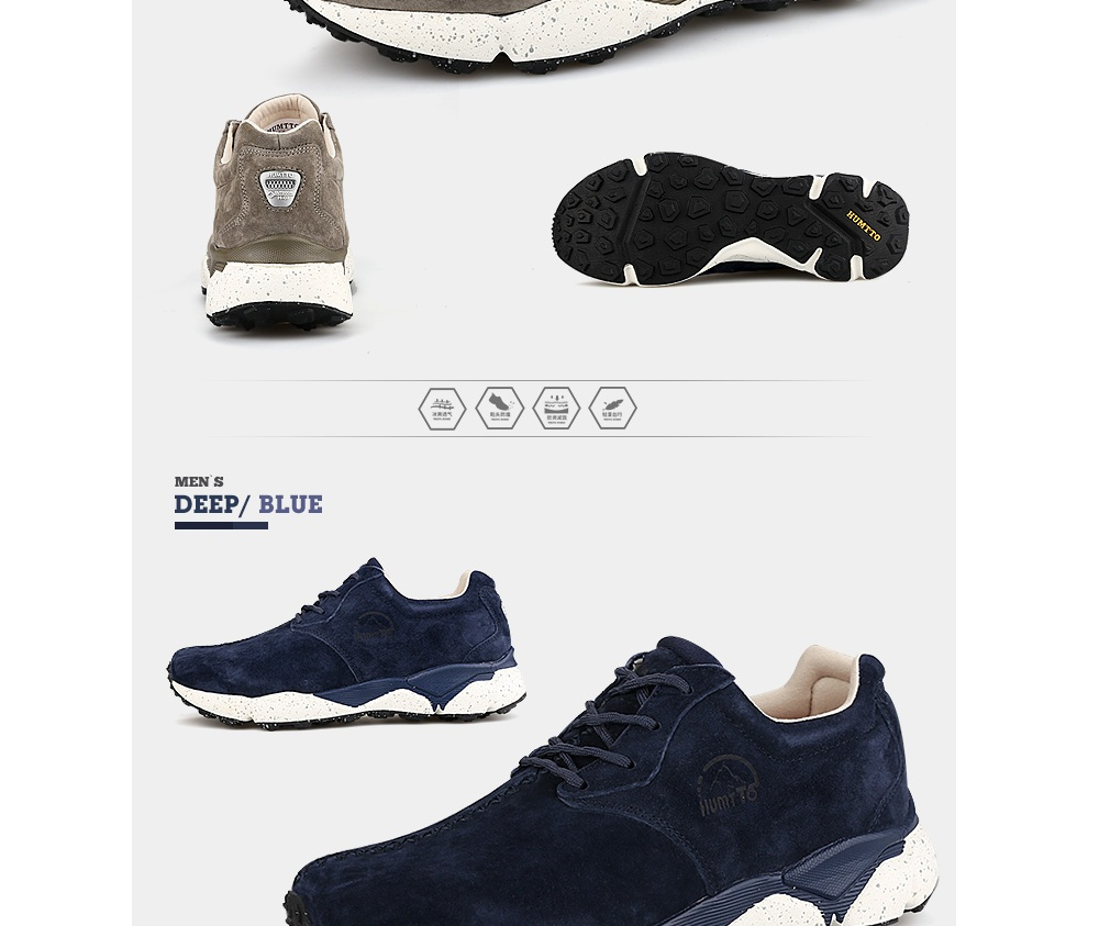 HUMTTO Men Running Shoes Cushioning Light Leather Breathable Sneakers