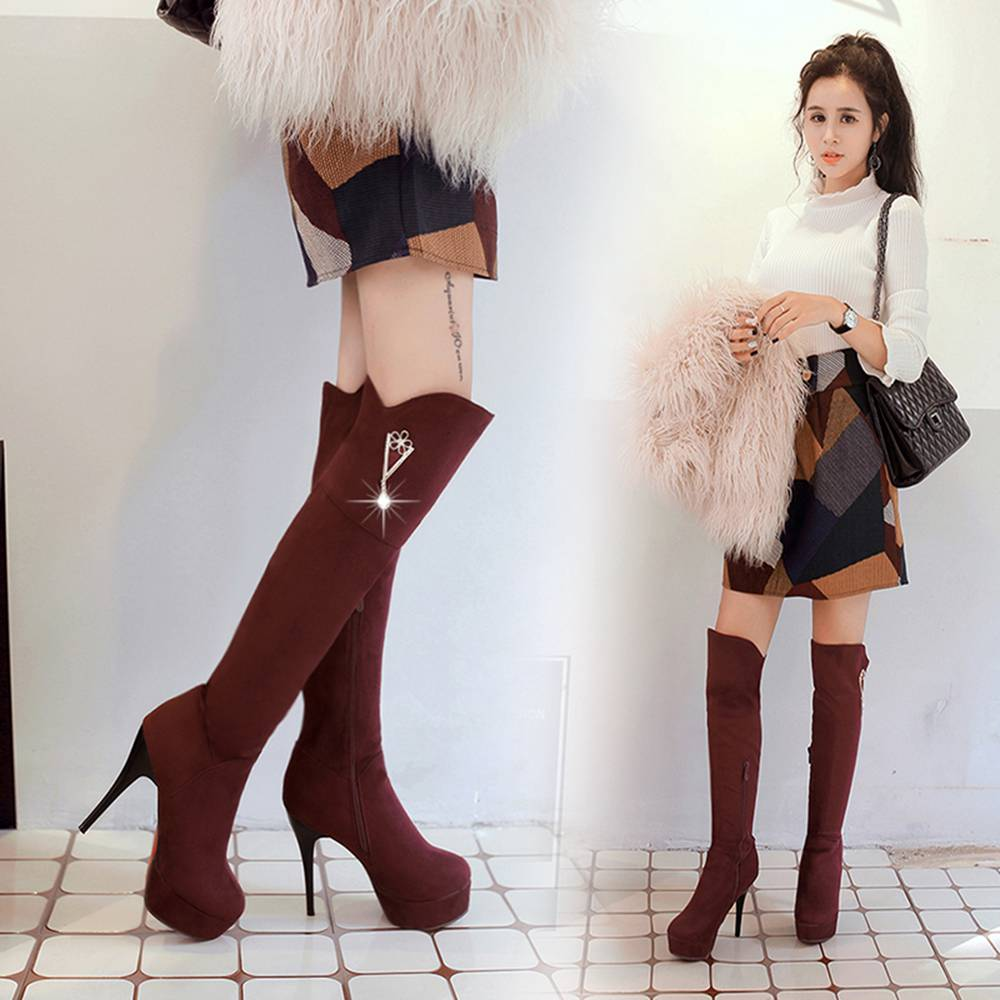 Autumn and Winter in Europe with a Fine Pointed Waterproof High-heeled Boots Over the Knee Boots