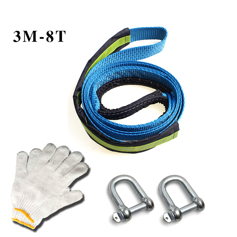 5M8T/4M8T/3M8T Car Towing Rope Strap Tow Cable with Hooks Emergency Heavy Duty 8 Tons