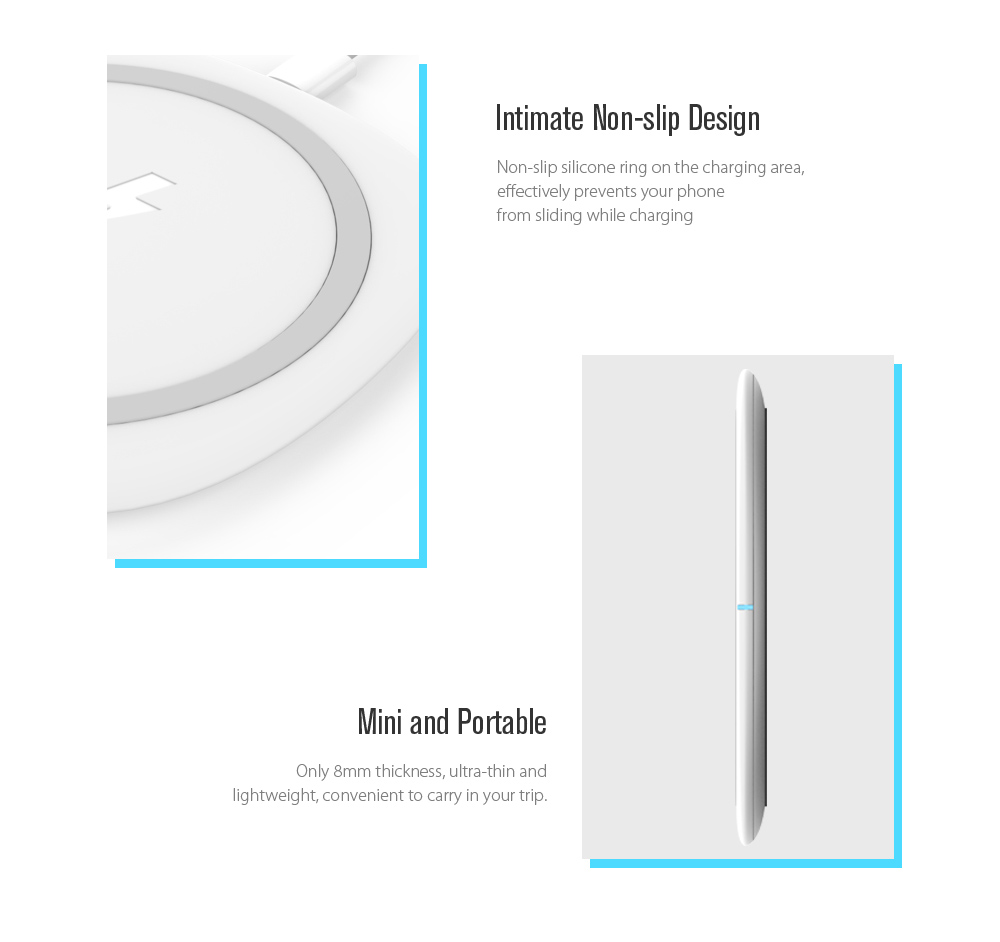 TOCHIC Qi Wireless Charger Pad 10W Fast Charge for iPhone X / 8 / 8 Plus / Samsung / LG / Xiaomi