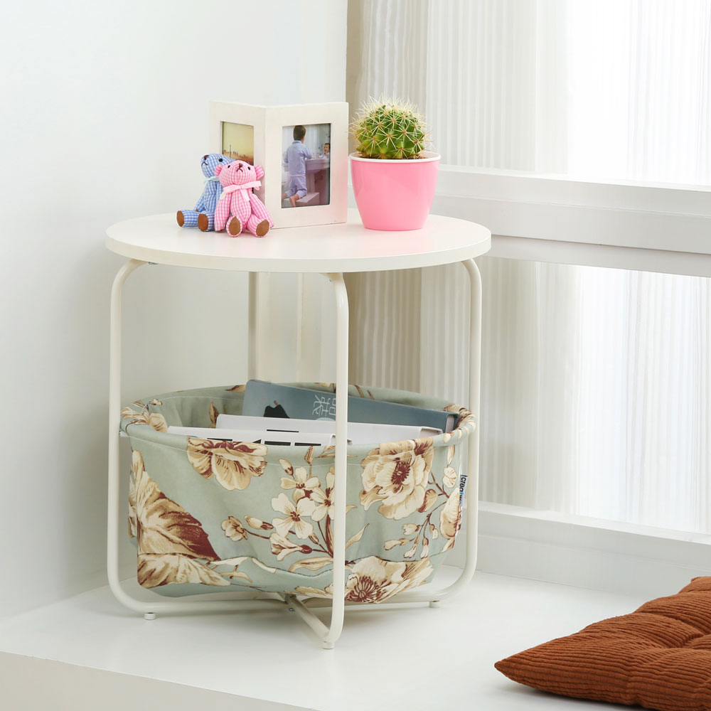 Round Wooden Side Table   2 Tiers With a Book Storage Canvas Basket Bag- Green