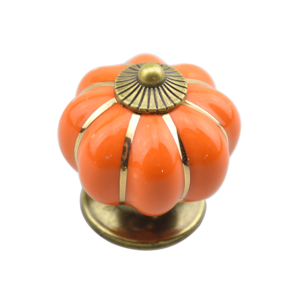 Vintage Ceramic Door Knob Cabinet Drawer Wardrobe Cupboard Kitchen Puller Handle- Orange