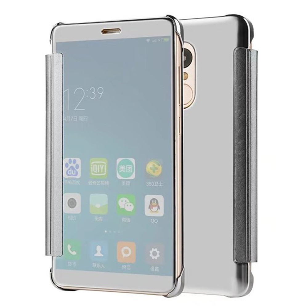 Luxury Clear View Mirror Flip Smart Case Cover For Redmi Note 4 Aluminium Bumper Xiaomi Hard Back Casing 4x