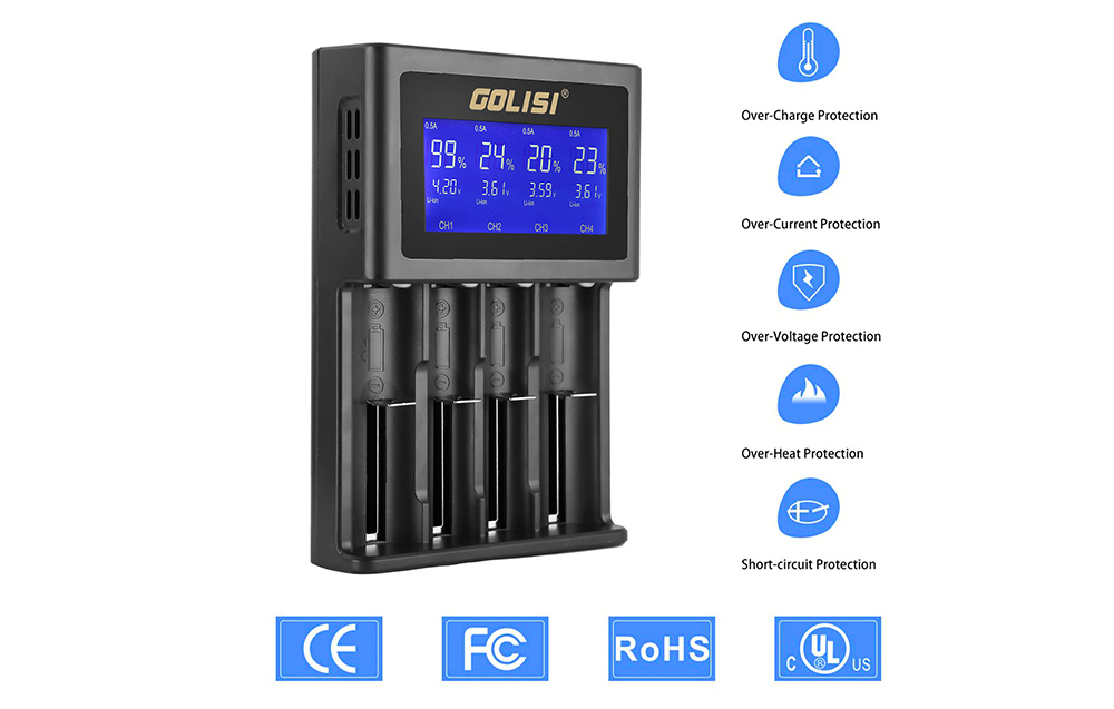 GOLISI S4 Four Slot Smart Charger for Various Types Battery
