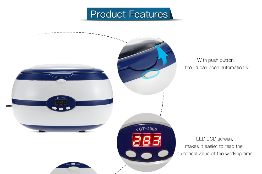 Mini Digital Ultrasonic Cleaner Jewelry Eyeglass Watches Cleaning Machine
