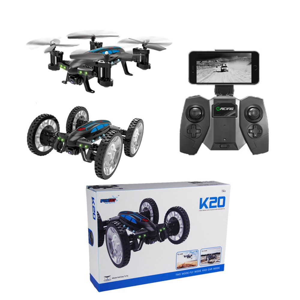 2017 New Multifunction 2 in 1 Flying Quadcopter Car with 0.3MP WiFi FPV Camera 4 Channel 2.4Ghz Air-land Flying Vehicles