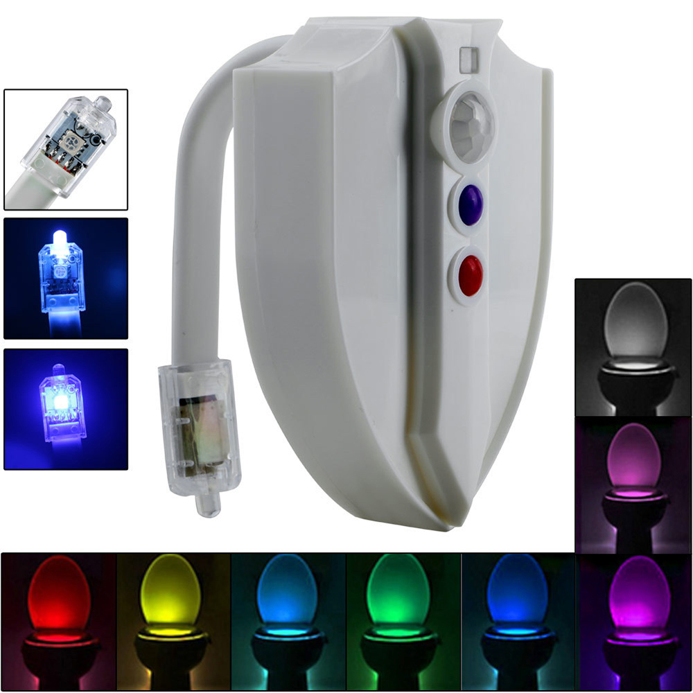 Motion Sensor LED Toilet Night Light Waterproof UV 8 Colors Activated Smart Lamp Nightlight- White