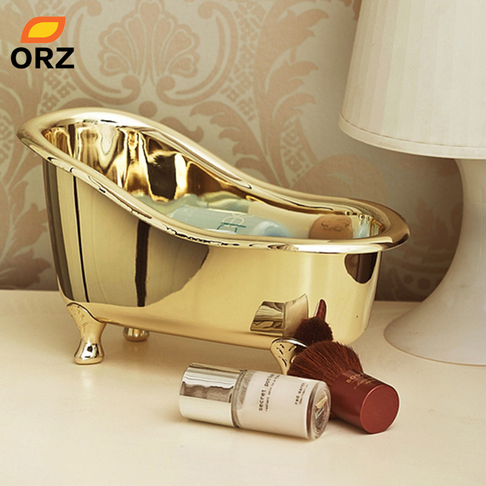 ORZ Cosmetics Organizer Box Chrome Gold Bathtub Shape Basket Jewelry ...