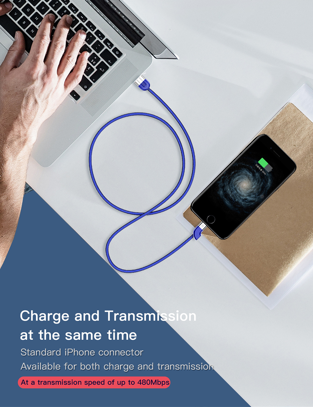 Baseus Couple Magnetic 8 Pin USB Cable Fast Data Sync Charging Charger for iPhone 2pcs - Colormix