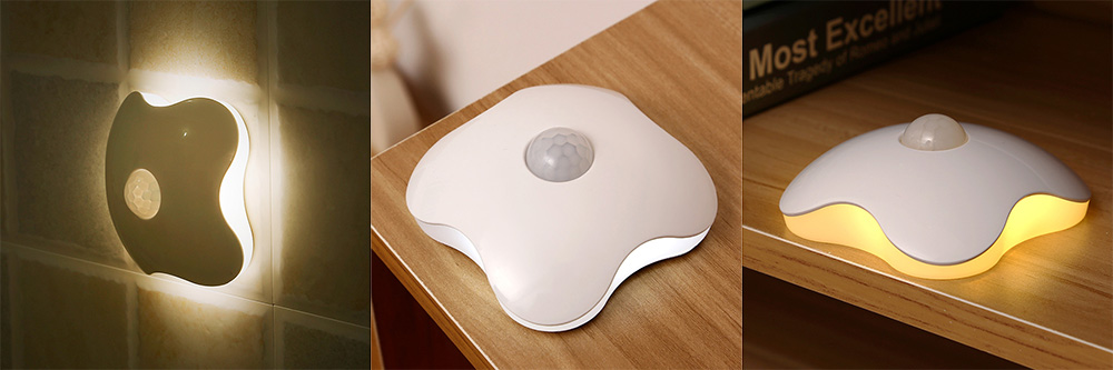 Body Sensing Rechargeable Intelligent Sound Controlled LED Night Light for Bedroom Bedside