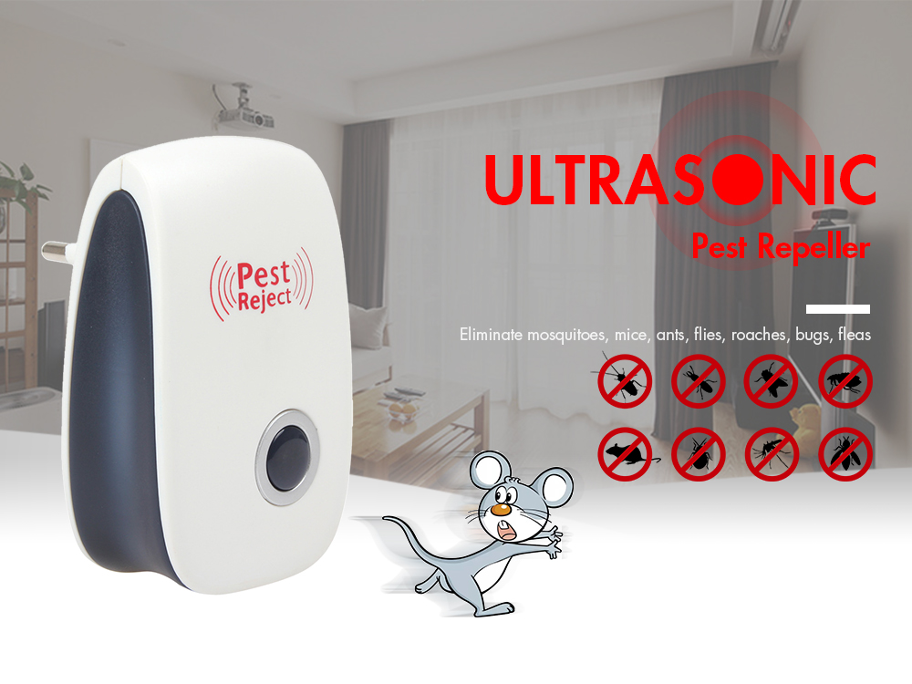 Ultrasonic Pest Repeller for Eliminating Mosquitoes / Mice / Ants / Flies / Roaches / Bugs / Fleas- White EU