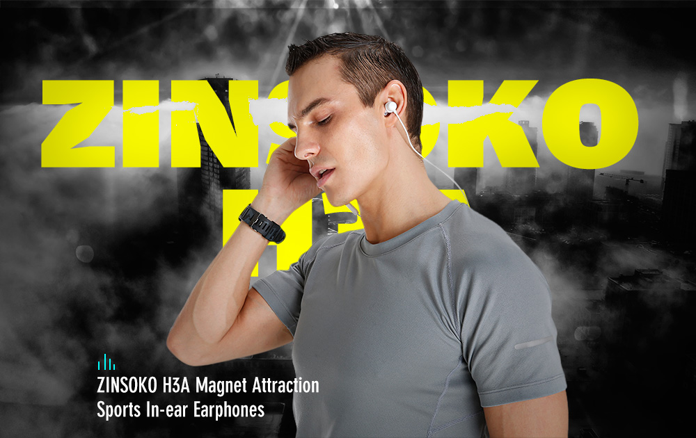 ZINSOKO H3A Magnet Attraction Sports In-ear Earphones with Mic Stereo Bass