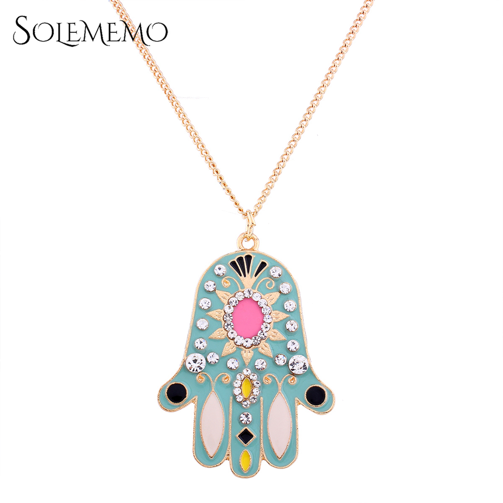 Long fatima hand pendant rhinestone hamsa gold chain necklace 648 long fatima hand pendant rhinestone hamsa gold chain necklace aloadofball Gallery