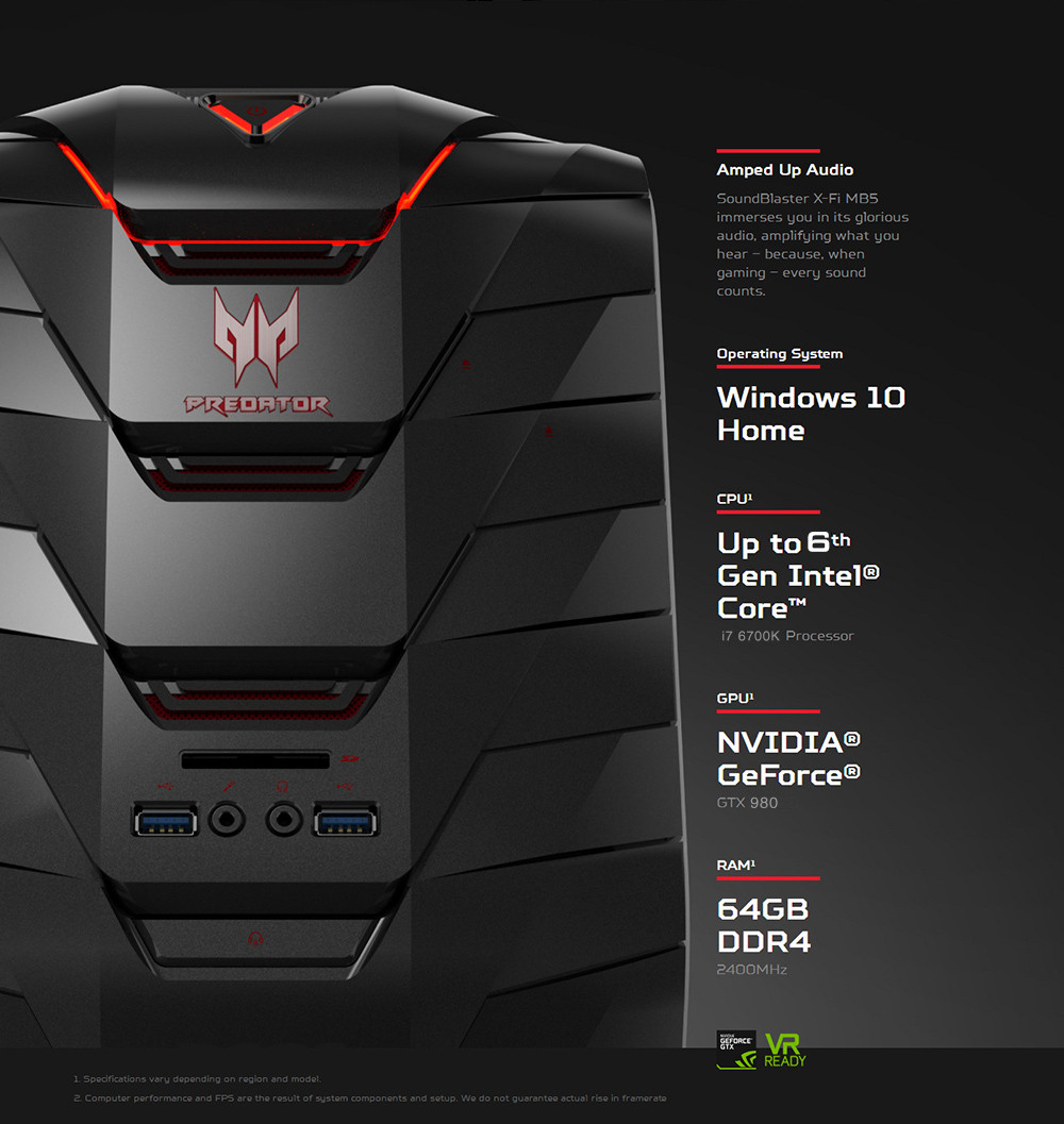 Acer Predator G6 Gaming Computer Tower Windows 10 Home Chinese Version Intel Core i7-6700K Quad Core 4.0GHz 16GB RAM 128GB SSD + 2TB HDD Dual WiFi
