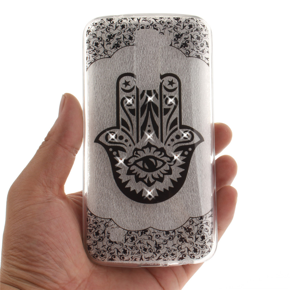 Palm Shining Diamond Soft Clear IMD TPU Phone Casing Mobile Smartphone Cover Shell Case for LG