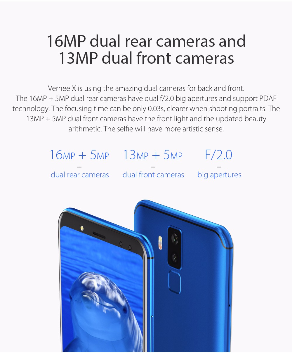 Vernee X 4G Phablet 5.99 inch Android 7.1 MTK6763 2.0GHz Octa Core 6GB RAM 128GB ROM Dual Rear / Front Cameras 6200mAh Battery