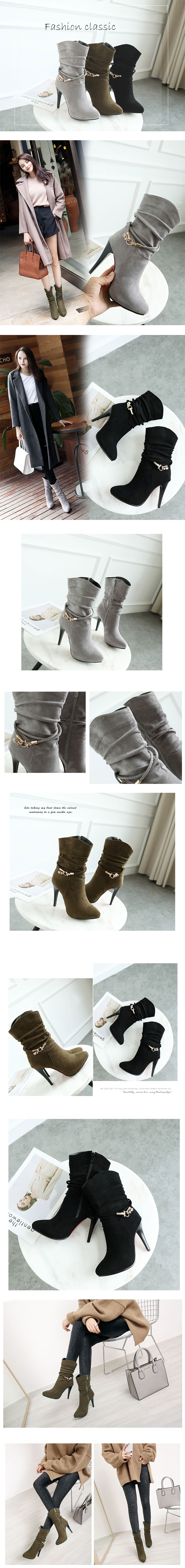 Autumn New Style Diamond Decorative Fine - Heeled Cloth with Soft Nap Wild Ankle Boots