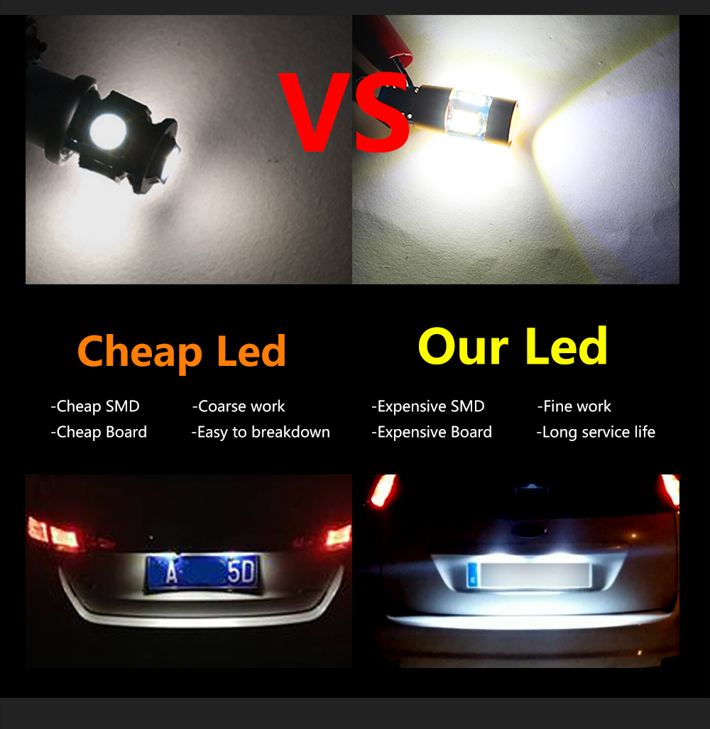 4 Lamps T10 Led Concave White Car Lights for License Plate Position 12v 360°