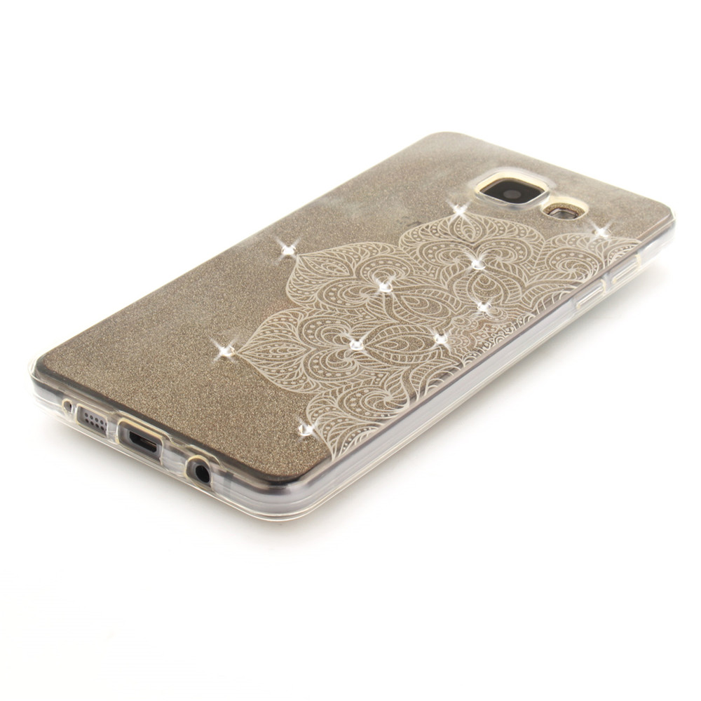 Half of White Flower Diamond Soft Clear IMD TPU Phone Casing Mobile Smartphone Cover Shell Case for Samsung A3 2016 A310