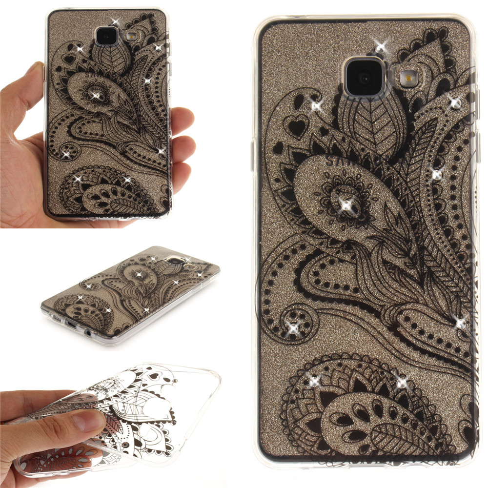 Peacock Flower Diamond Soft Clear IMD TPU Phone Casing Mobile Smartphone Cover Shell Case for Samsung A5 2016 A510