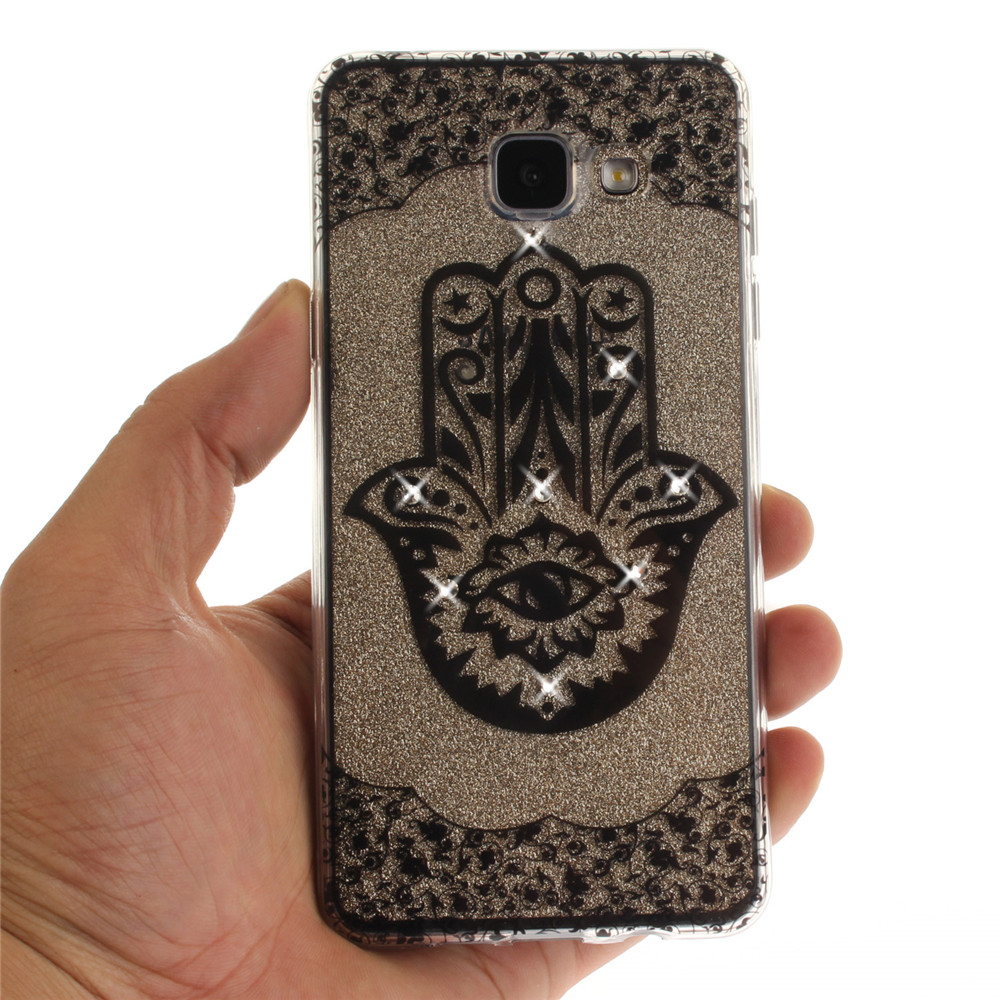 Palm Diamond Soft Clear IMD TPU Phone Casing Mobile Smartphone Cover Shell Case for Samsung A5 2016 A510
