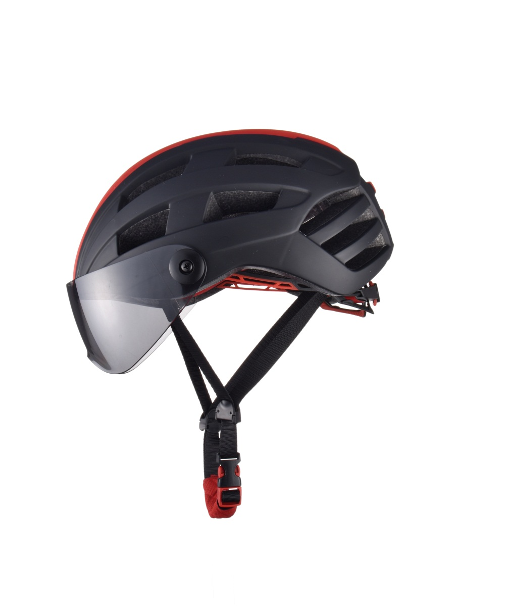 1be36919 Luminous Bicycle Helmet Bike Cycling Adult Adjustable Unisex Safety with  Visor Mirror- Red with Black