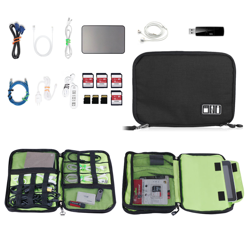 Universal Portable Double Layer Electronics Accessories Case Pouch Gear Travel Storage Cable Organizer Bag Large