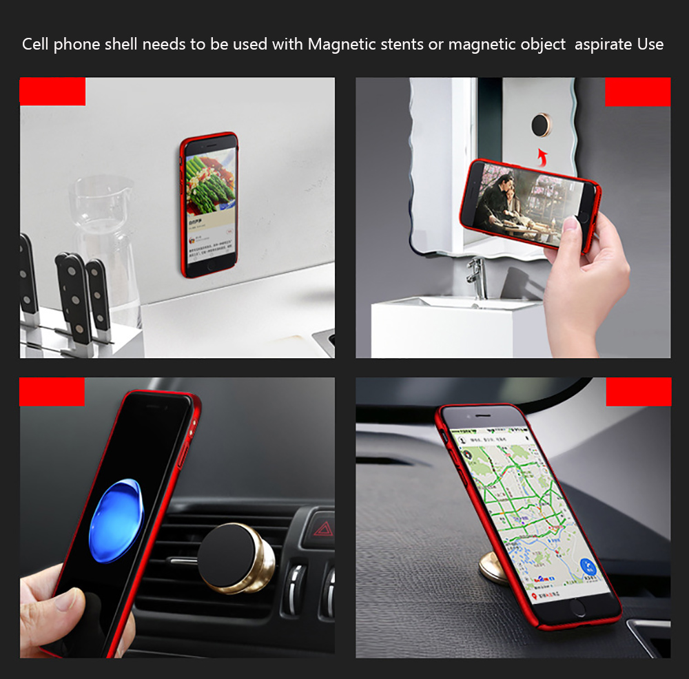 Magnetic Case for iPhone 7 Plus PC Hard Iron Sheet Magnetic Phone Case With Iron Sheet For Magnet Car Holder