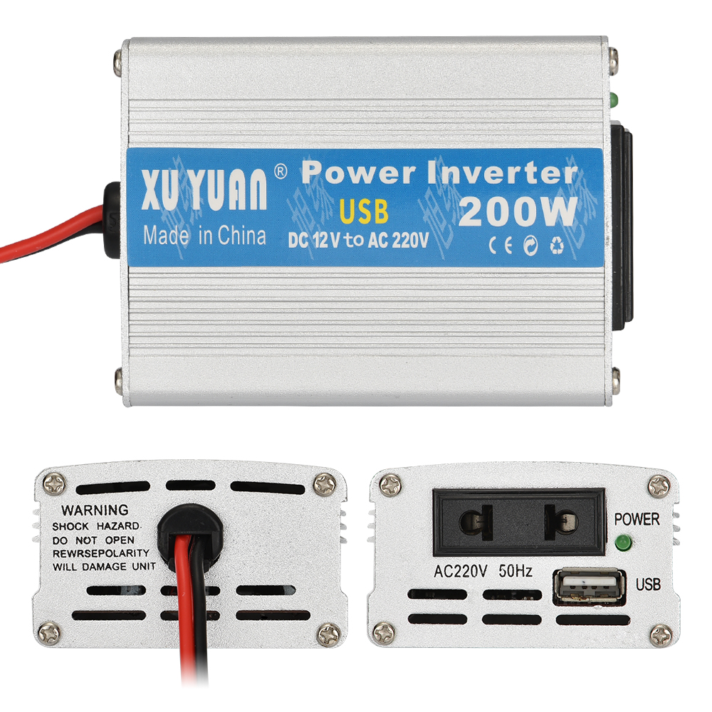 Xuyuan 12v To 220v 200w Car On Board Inverter Converter 1240 Ac Circuit 12 Volt For Soldering Iron Portable Solar Silver White