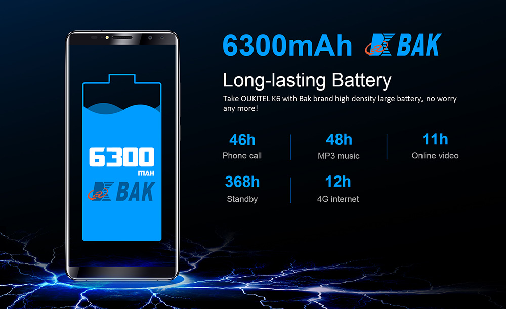 OUKITEL K6 4G Phablet 6.0 inch Android 7.1 MTK6763 Octa Core 2.0GHz 6GB RAM 64GB ROM 6300mAh Battery Four Cameras Fingerprint Recognition
