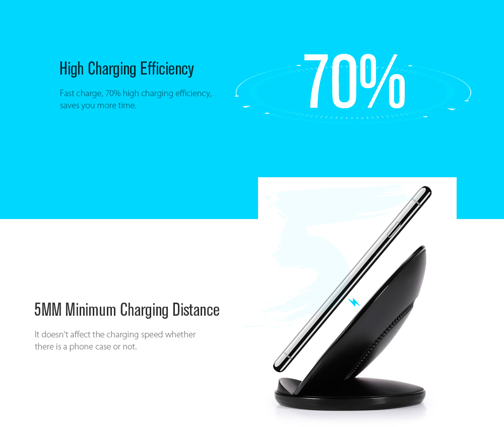 Qi Standard Wireless Charger Phone Charging Stand Fast Charge