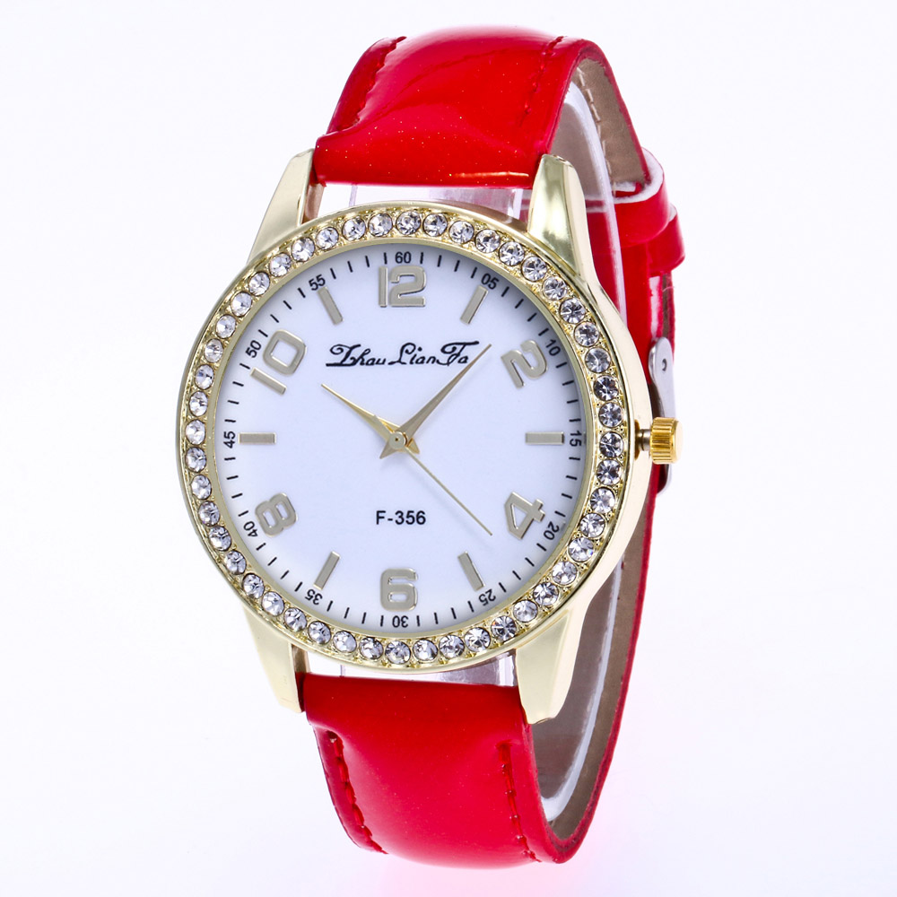 ZhouLianFa New Fashion Crystal Grain Leather Strap Gold Diamond Ladies Leisure Quartz Watch with Gift Box