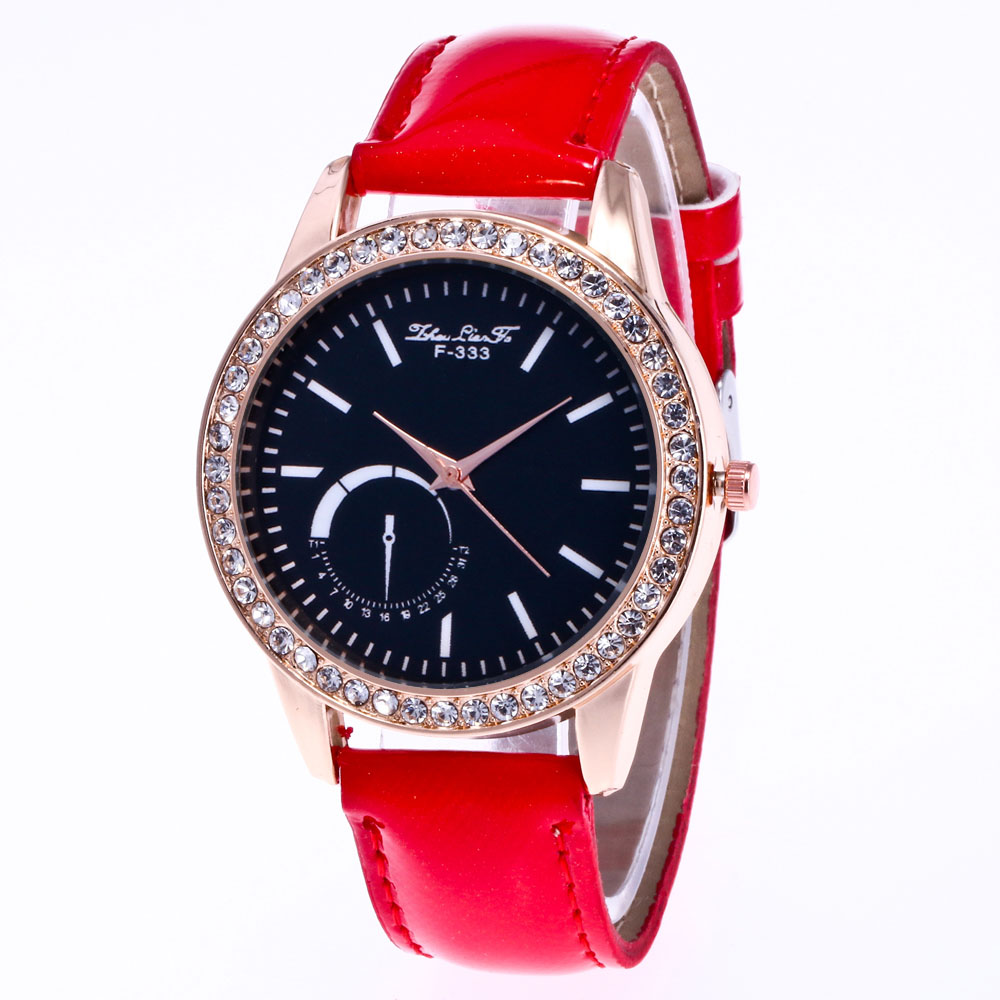 ZhouLianFa New Fashion Crystal Grain Leather Strap Rose Gold Diamond Ladies Luxury Multi-Quartz Watch with Gift Box