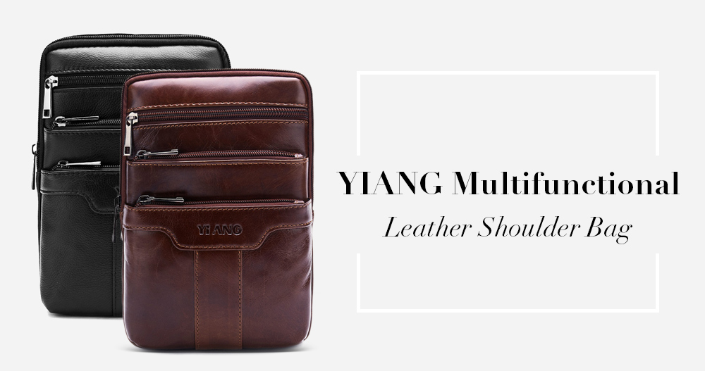 YIANG Multifunctional Leather Shoulder Bag for Men