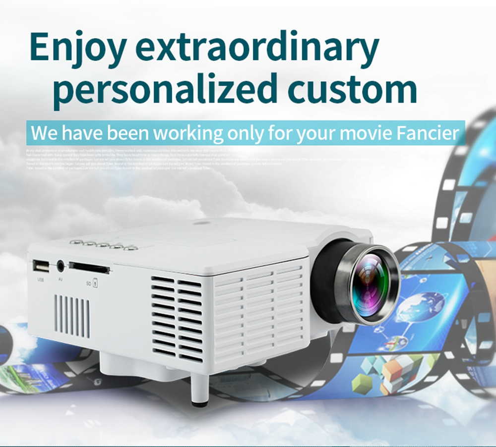 UC28 Projector Mini Portable LED 400 Lumens 1080P HD Home Theater Cinema Projectors- White US Plug