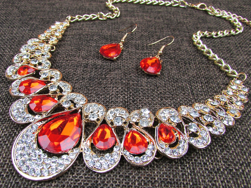 Women Luxury Diamond Choker Earrings Jewelry Set Bridal Necklace Lady Gifts