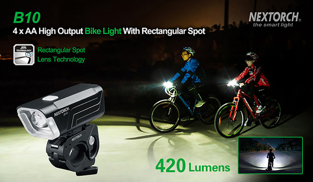 NEXTORCH B10 4 x AA High Output Bike Light with Rectangular Spot
