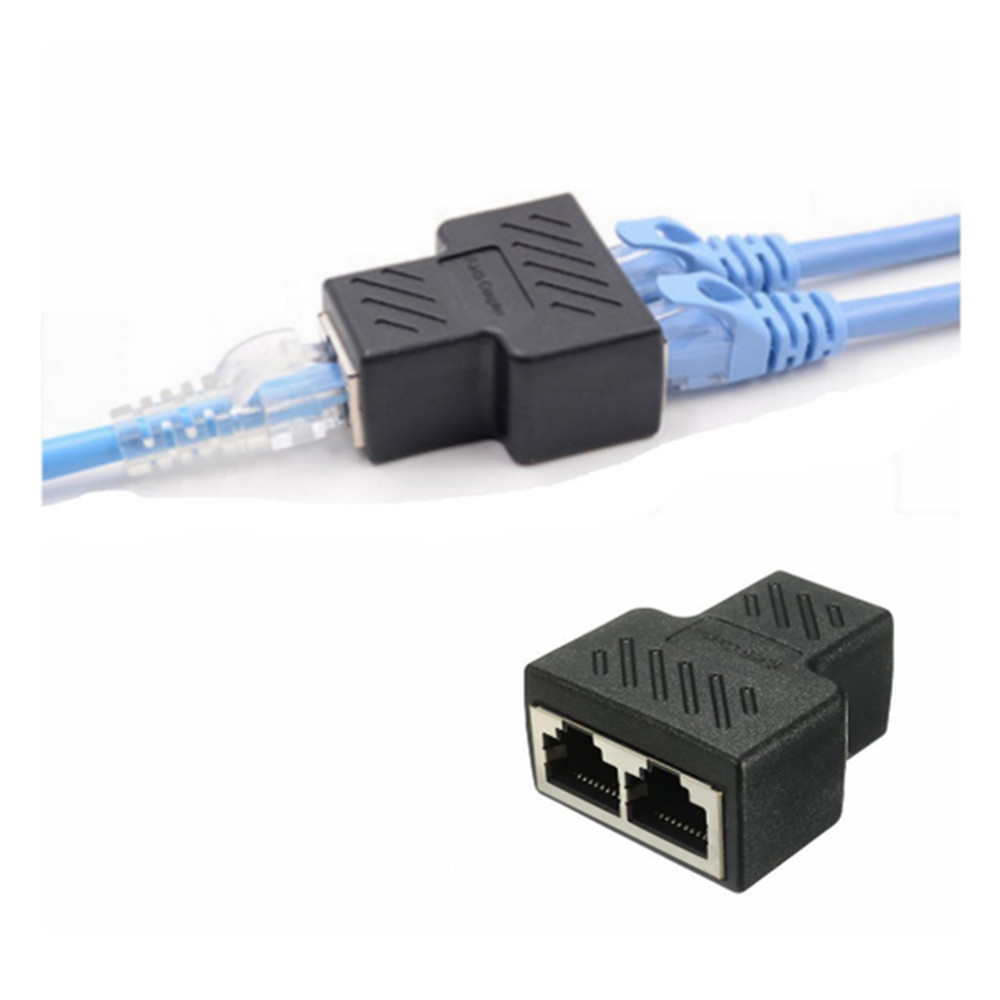 Yeshold RJ45 Splitter Connector Ethernet Cable Socket Adapter 8P8C Network-  Black