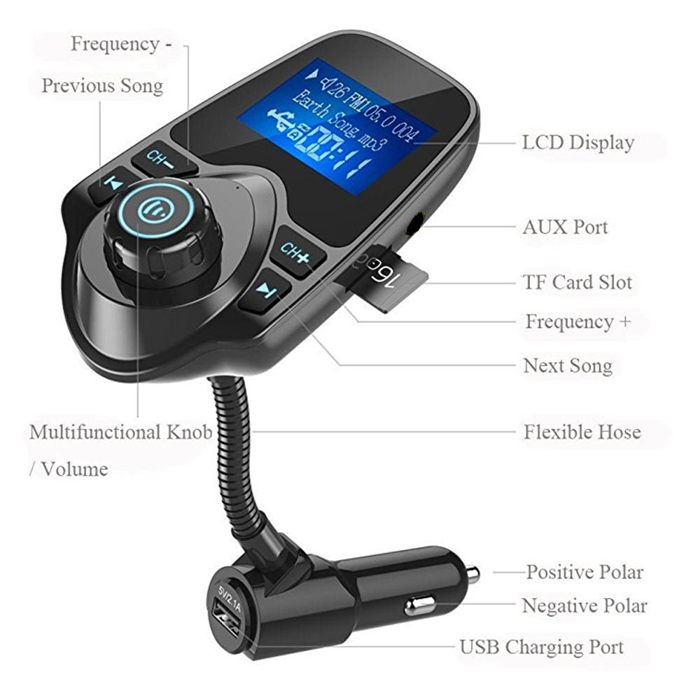 Wireless in-Car BT FM Transmitter Radio Adapter Car Kit W 1.44 Inch Display Supports TF//SD Card and USB Car Charger for All Smartphones Audio Players