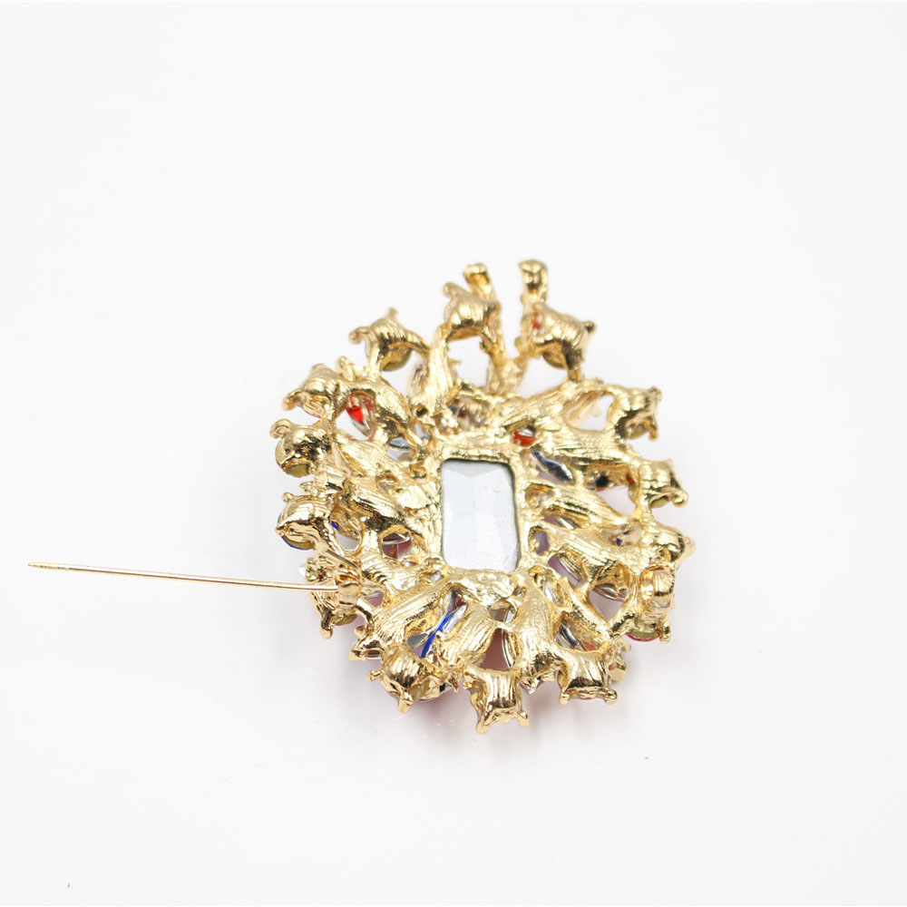 Fashion Gold Color Simulated Pearl Bead Colorful Crystal Brooch Hollow Alloy Flowers Rhinestone Brooch Pins