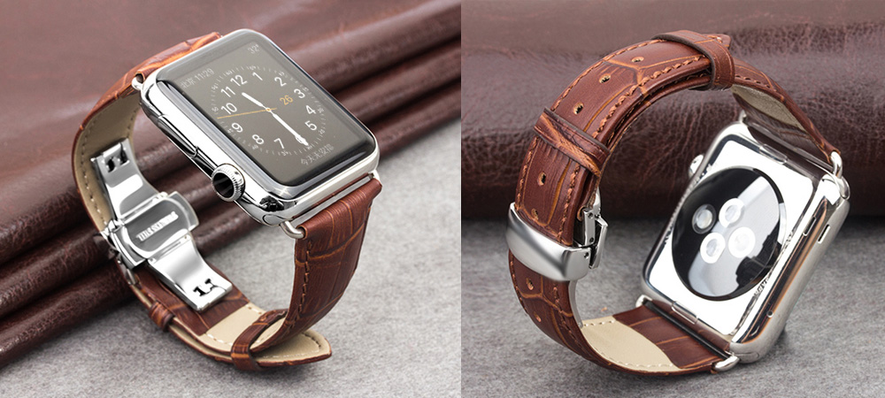 ROPS Unisex Genuine Leather Watch Band Replacement Choice of Color Width for iWatch Series 2 Accessories - Deep Brown 42MM