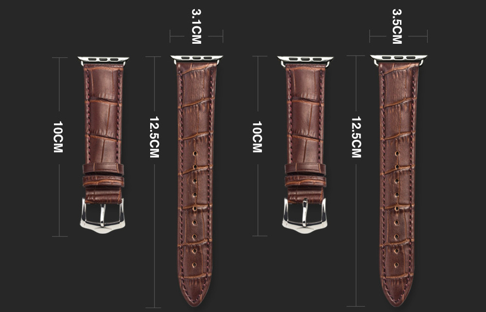 ROPS Watch Genuine Leather Band Replacement Choice of Color Width for iWatch- Deep Brown 38MM