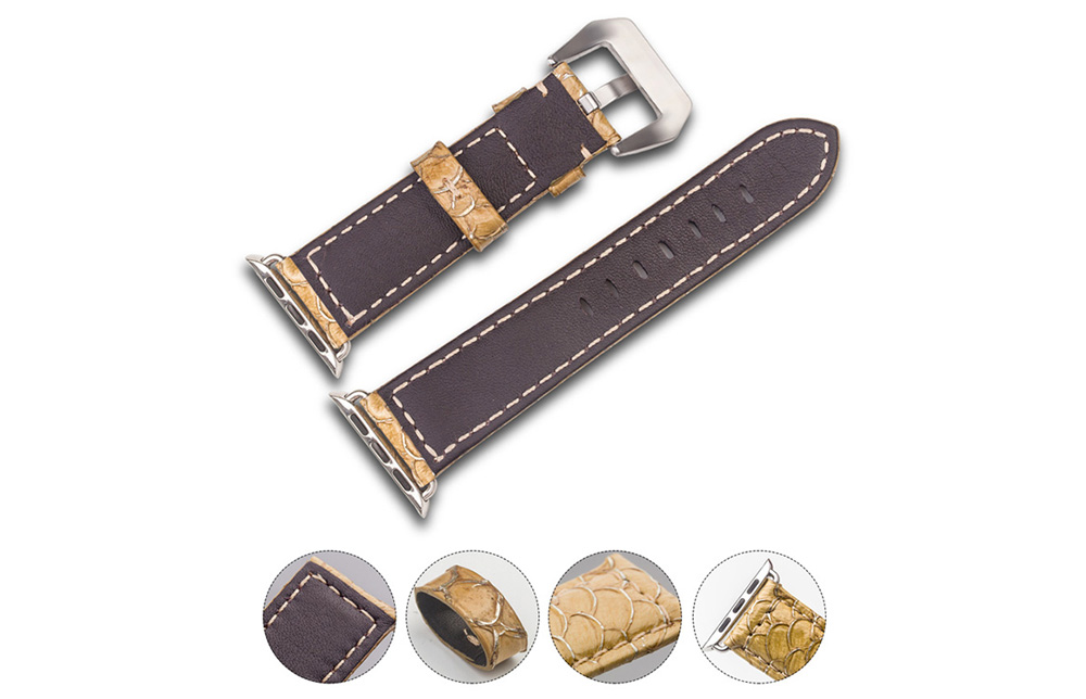 ROPS Unisex Fish Scales Leather Watch Band for iWatch Series 2 Accessories Replacement Choice of Width- Yellow 38MM