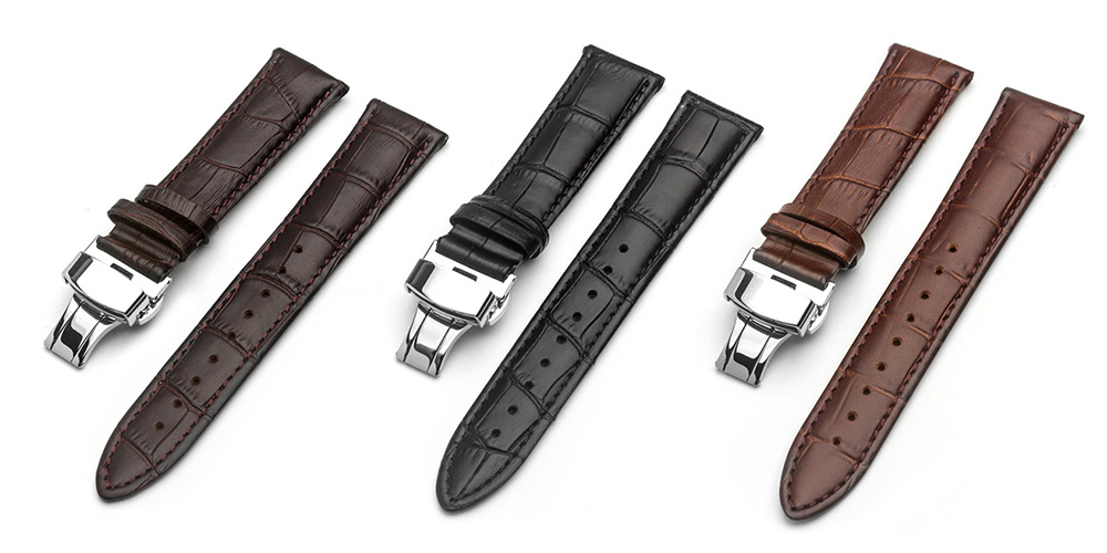 ROPS Watch Genuine Leather Band with Pin Buckle Replacement Choice of Color Width - Light Coffee 20MM
