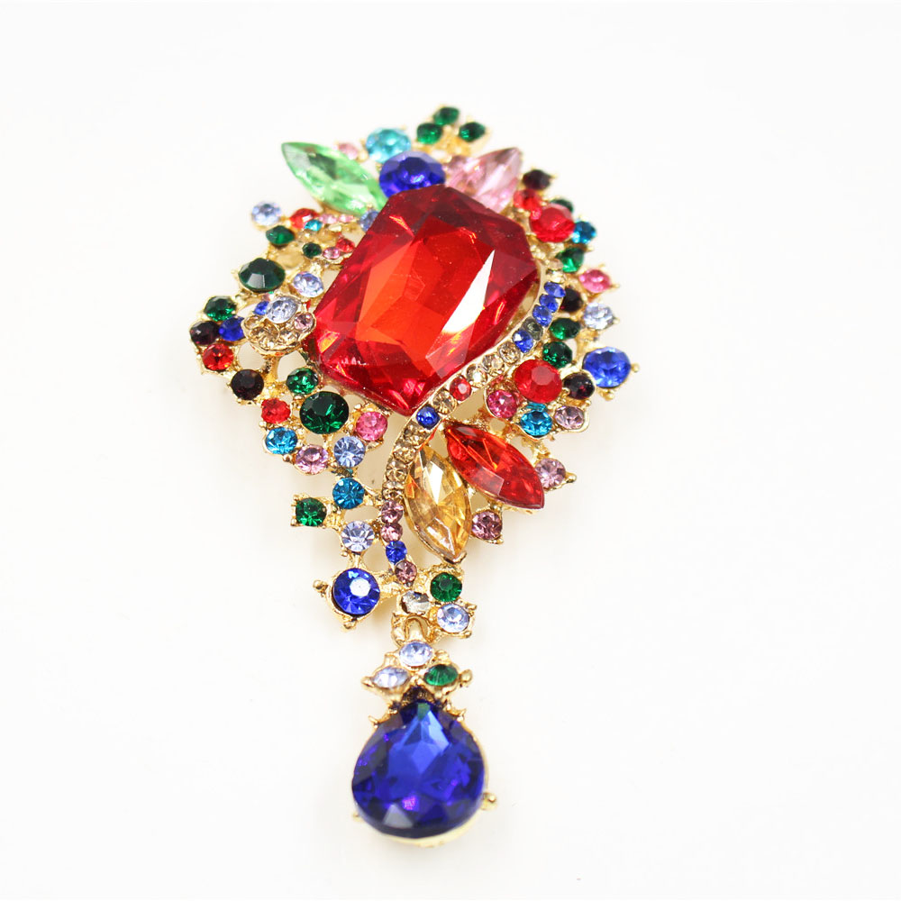 Ashion Colorful Crystal Teardrop Marriage Brooch Pins Large Size Gold Color Women Wedding Brooches Pins Accessories
