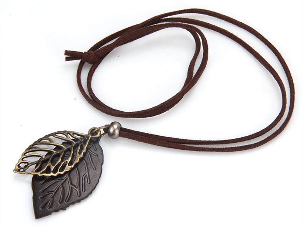 Fashion Literature and Art Small Fresh Double Tree Leaf Long Necklace Chain Sweater Chain