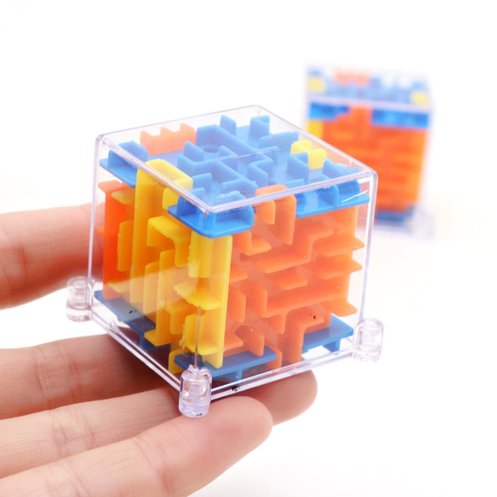 3D Mini Speed Cube Labyrinth Puzzle Game Toys Rolling Ball Magic Maze KGT
