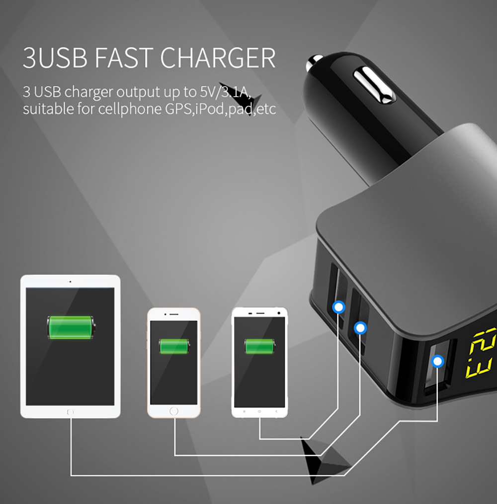 Modern Style Car Charger Car Smoke Lighter Dual USB Car Charger Intelligent Fast-Charging Head Multi-Function HY-10- Black