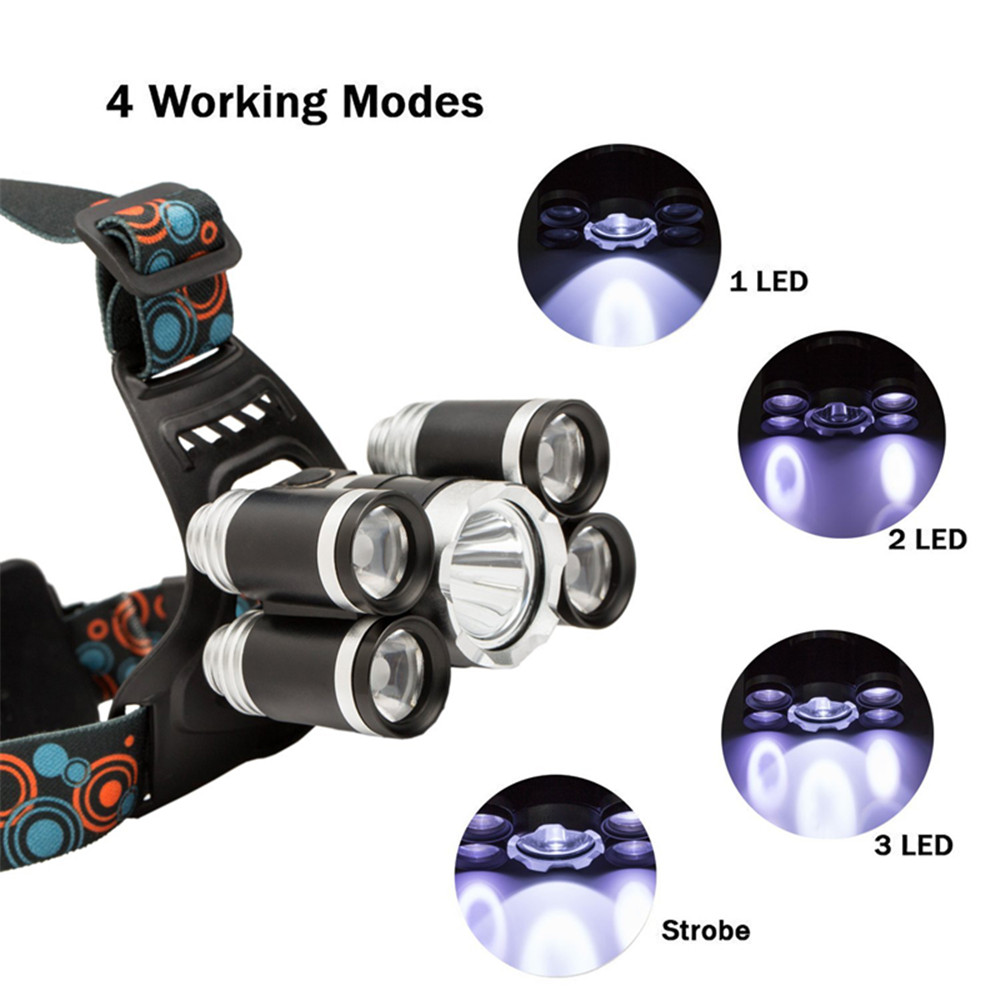 Hkv 5 Led Headlamp Xml T6 4q5 Head Lamp Powerful Headlight Online Buy Wholesale Strobe Circuit From China Torch 18650