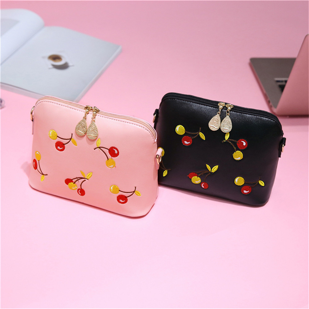 2017 Summer New Handbag Fashion Embroidery Cherry Capacity Single Shoulder Bag Lady Small Bag